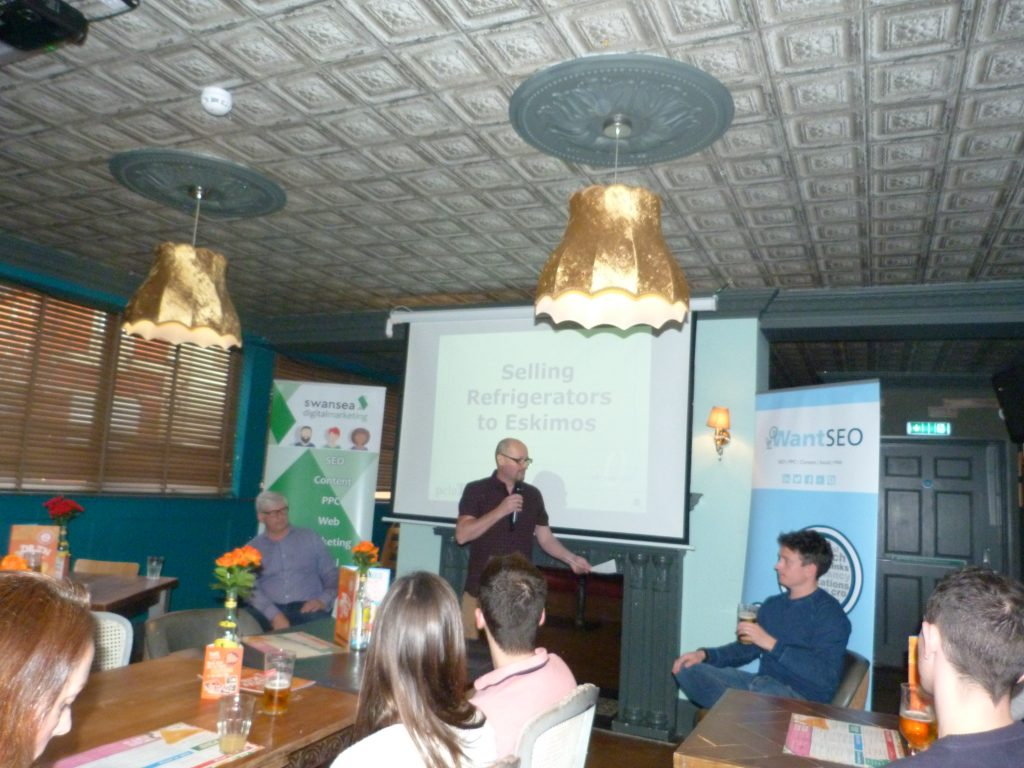 Andy Wolley Talking at a Digital Marketing Swansea Meetup