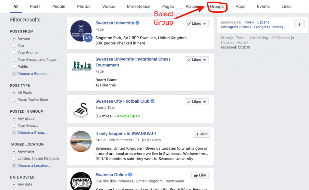 Facebook Group filtering